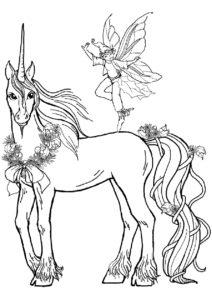 Единороги бесплатная раскраска распечатать на А4 - Новогоднее волшебство