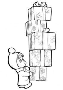 Новогодние подарки (Маша и Медведь) бесплатная раскраска