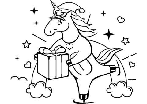 Новогодний подарок - Единороги раскраска распечатать на А4