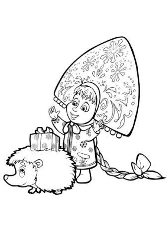 Раскраска Новогодний подарок для ежика распечатать на А4 - Маша и Медведь
