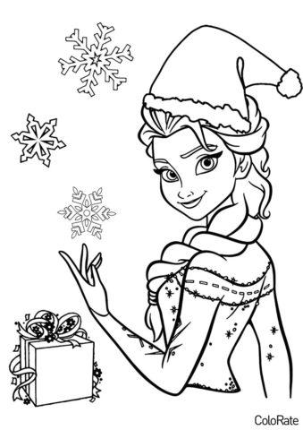 Новогодняя Эльза (Холодное сердце) распечатать разукрашку