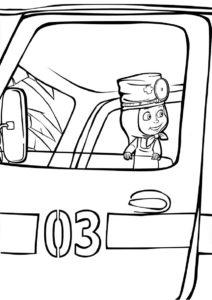 Новый водитель машины Скорой помощи (Маша и Медведь) разукрашка для печати на А4