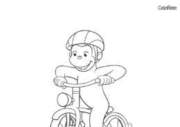 Обезьянка на велосипеде раскраска распечатать и скачать - Велосипеды