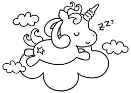Облачный сон - Единороги распечатать раскраску на А4
