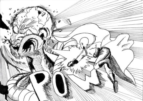 Обычный удар Сайтамы (Ванпанчмен) распечатать бесплатную раскраску