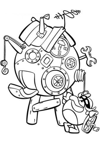 Очередное изобретение Пина бесплатная раскраска - Смешарики