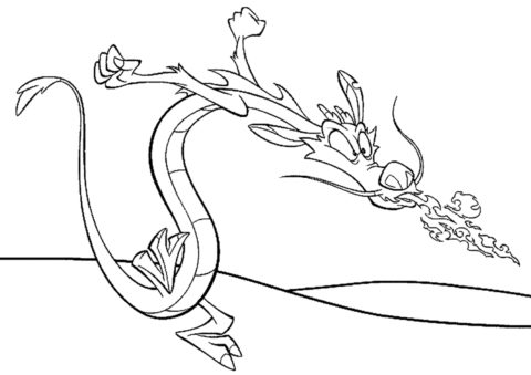 Бесплатная раскраска Огнедышащий Мушу - Драконы