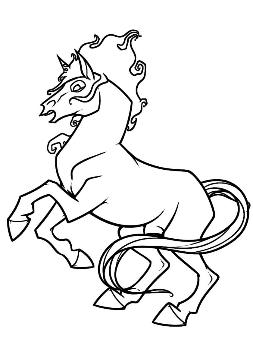 Раскраска Огненный мустанг распечатать | Лошади и пони