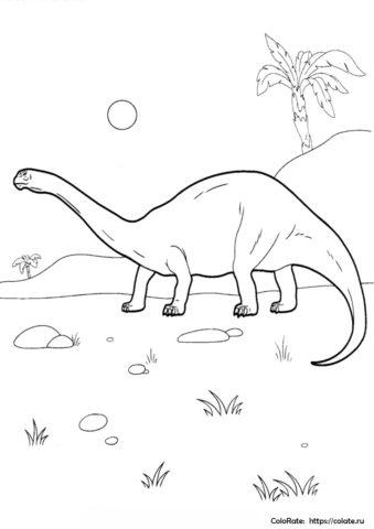 Огромный диплодок распечатать раскраску - Динозавры