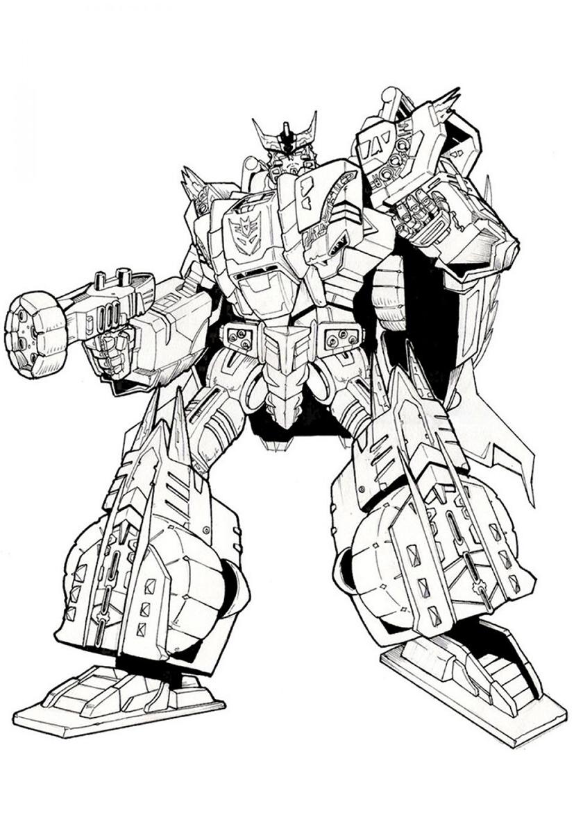Раскраска Огромный робот-трансформер распечатать ...