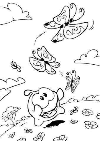 Раскраска Охота на бабочек - Приключения Ам Няма