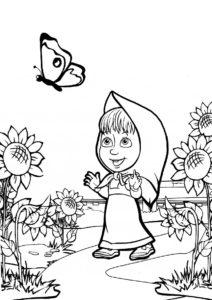 Охота на бабочку (Маша и Медведь) разукрашка для печати на А4