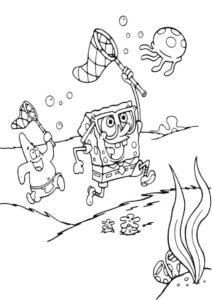 Бесплатная раскраска Охота на медуз распечатать и скачать - Губка Боб