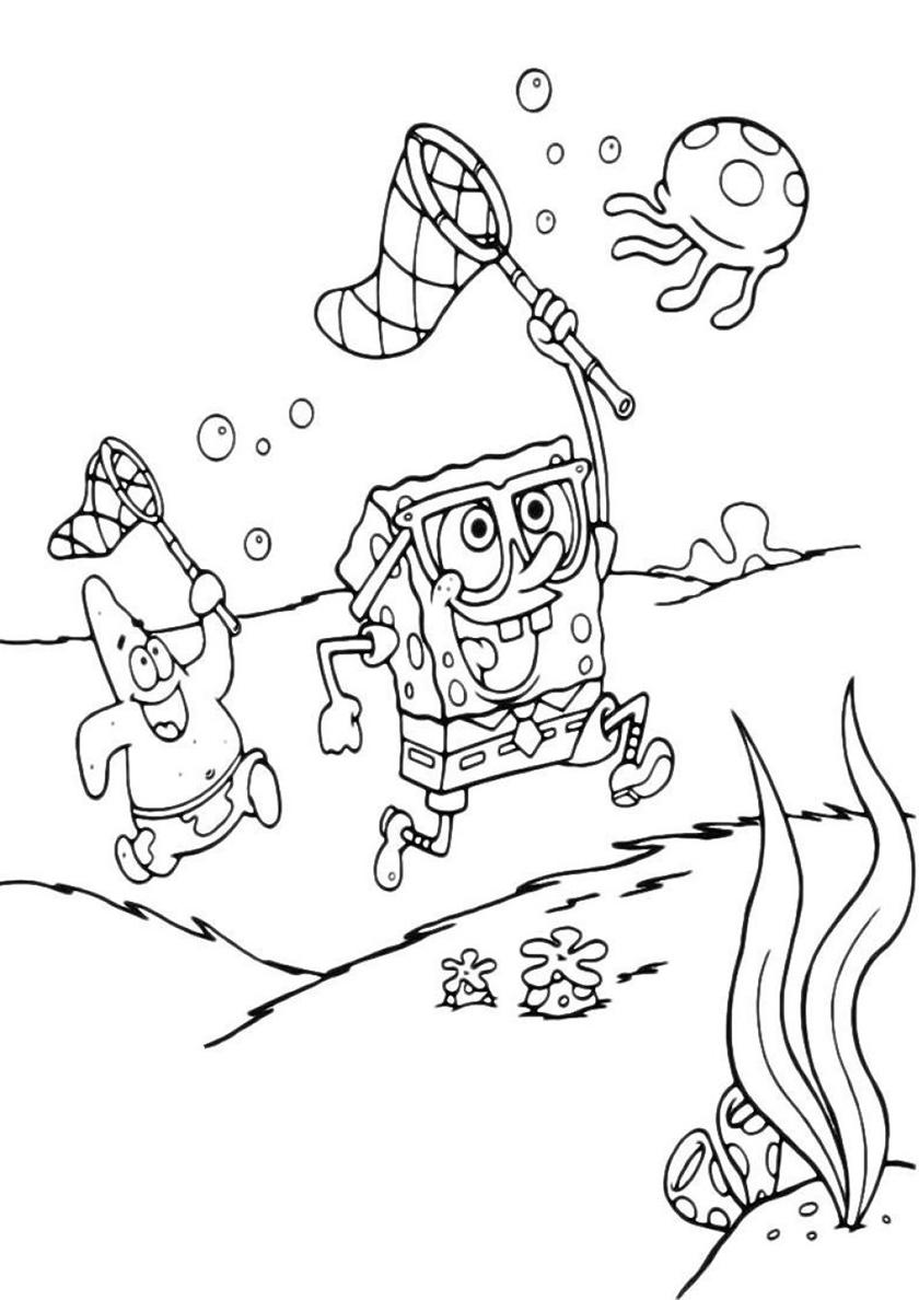 Раскраска Охота на медуз распечатать | Губка Боб