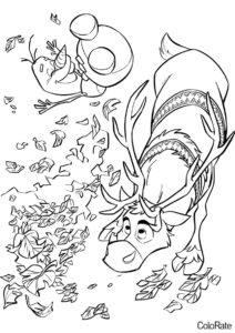 Олаф и Свен радуются осени раскраска распечатать на А4 - Холодное сердце