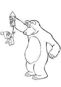 Опасная пиротехника распечатать и скачать раскраску - Маша и Медведь