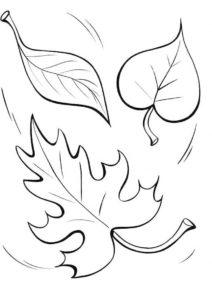 Опавшие листочки кружатся в вальсе (Листья) распечатать бесплатную раскраску