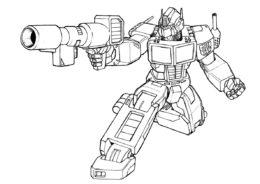 Раскраска Оптимус с оружием распечатать и скачать - Трансформеры