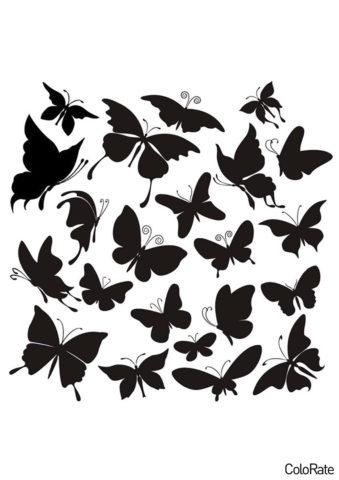 Трафареты бабочек бесплатный трафарет для вырезания - Орнамент из бабочек