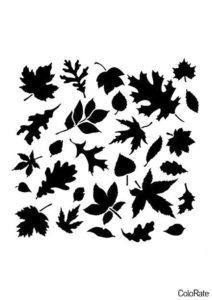 Орнамент из листьев (Трафареты листьев) распечатать трафарет