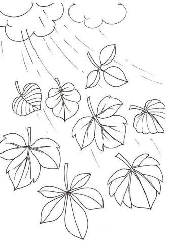 Осень дождливая скинула листву (Листья) распечатать раскраску