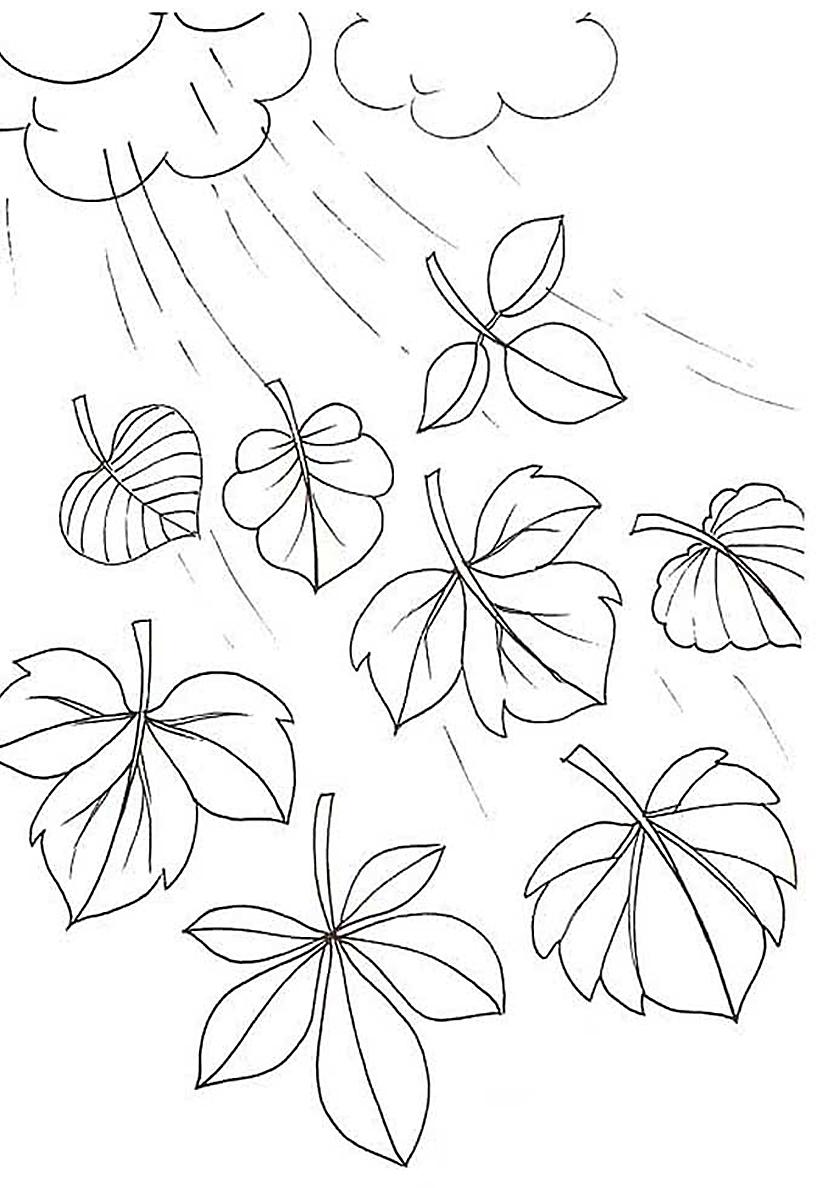 Раскраска Осень дождливая скинула листву распечатать | Листья