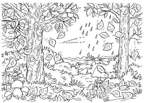 Осень наступает (Листья) бесплатная раскраска на печать