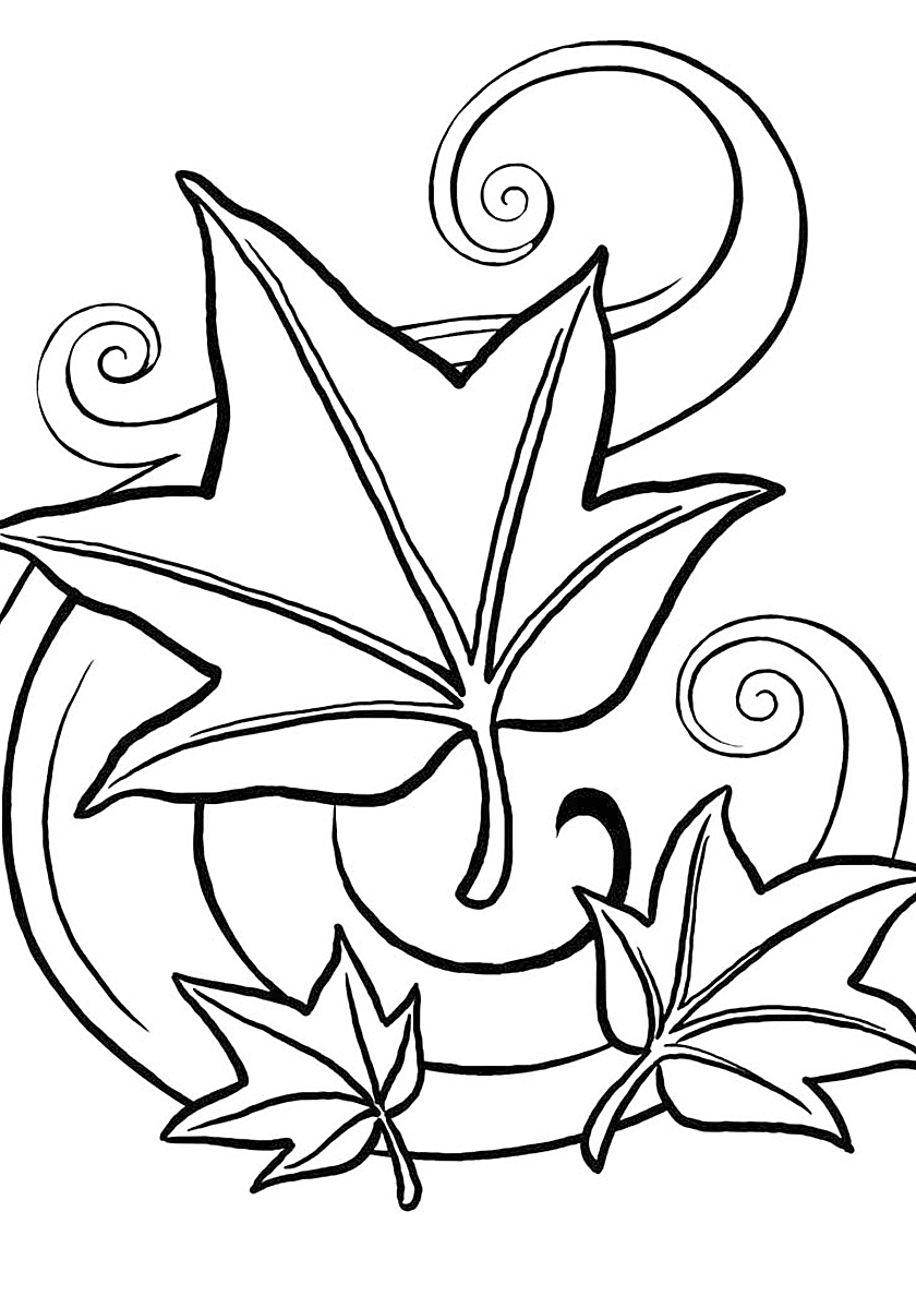 Раскраска осенний листопад распечатать | Листья