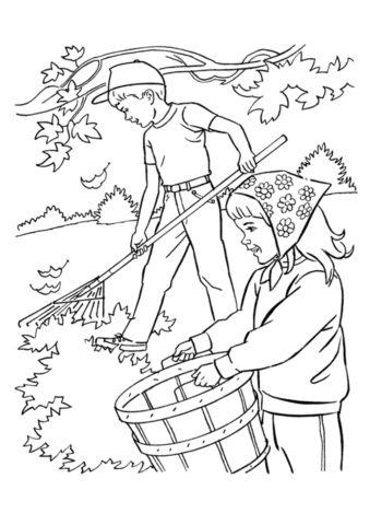 Бесплатная раскраска Осенняя уборка распечатать на А4 - Осень