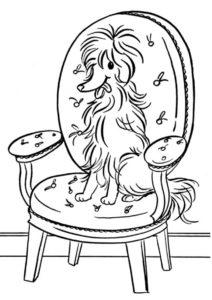 Распечатать раскраску Отдыхающая на кресле хозяина болонка - Собаки и щенки