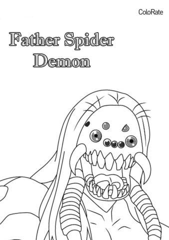 Отец Демон Паук распечатать раскраску - Раскраски из аниме «Клинок, рассекающий демонов»
