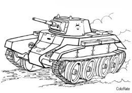 Военные распечатать раскраску - Отечественный танк БТ7