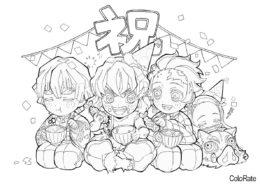 Отмечаем праздник (Раскраски из аниме «Клинок, рассекающий демонов») распечатать бесплатную раскраску