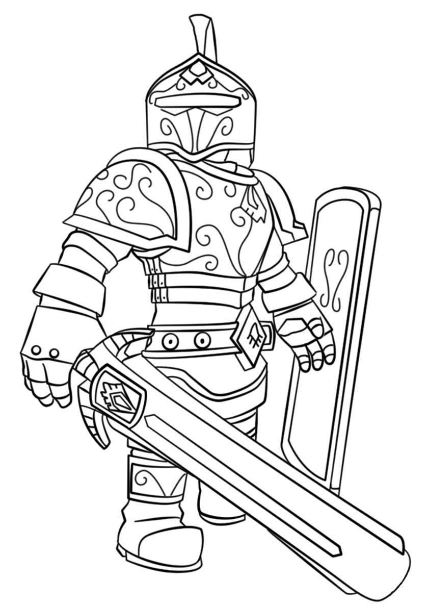 Раскраска Отважный рыцарь распечатать | Роблокс