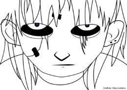Бесплатная раскраска Озлобленное лицо распечатать на А4 - Салли Фейс