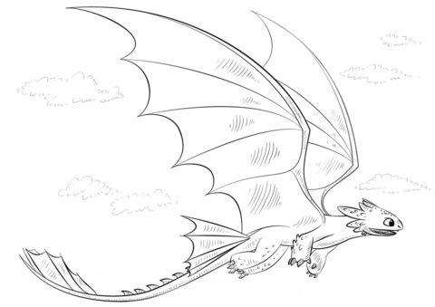 Драконы распечатать раскраску на А4 - Парящий в небе Беззубик