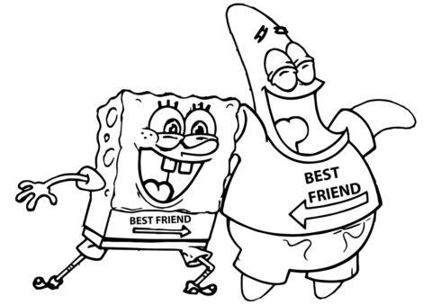 Патрик и Спанч - лучшие друзья - Губка Боб раскраска распечатать на А4