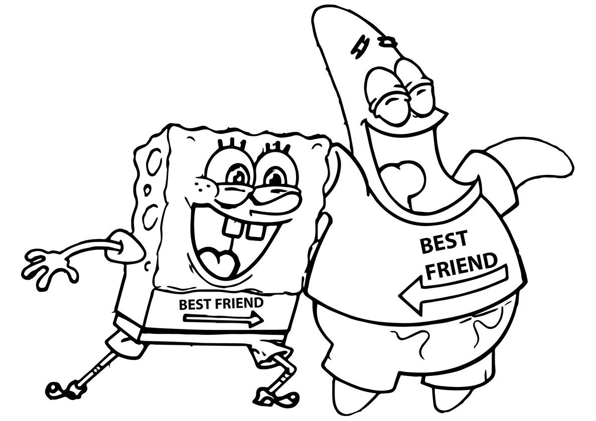 Раскраска Патрик и Спанч - лучшие друзья распечатать ...