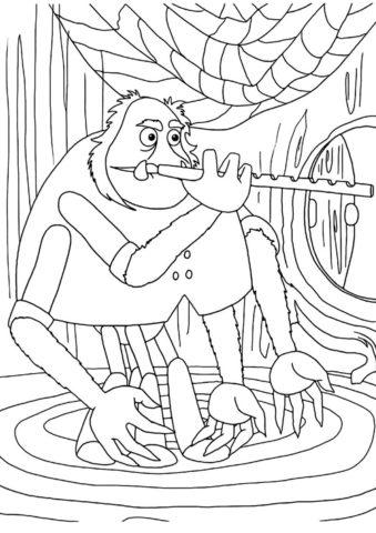 Паук Шнюк играет на флейте раскраска распечатать и скачать - Лунтик
