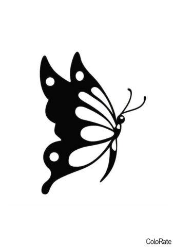 Павлиний глаз сбоку (Трафареты бабочек) трафарет для печати и загрузки