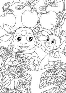 Лунтик распечатать раскраску - Пчеленок и Лунтик около яблони