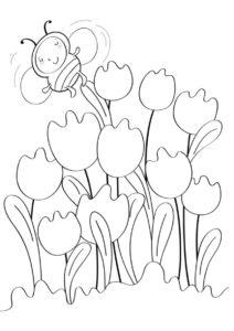 Пчелка на цветах - Весна распечатать раскраску на А4