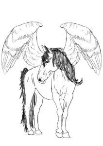 Бесплатная раскраска Пегас распечатать на А4 и скачать - Лошади и пони