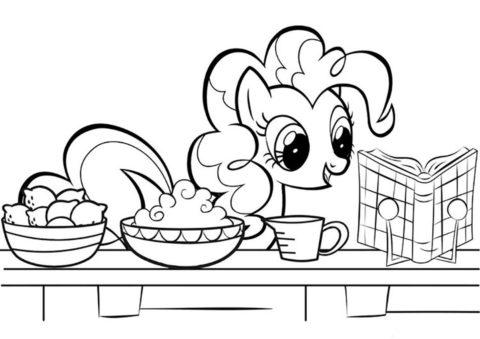 Распечатать раскраску Пекарь Сахарного дворца - Пинки Пай