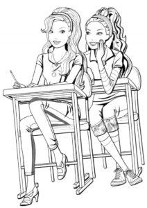 Перешептывания на уроках (Барби) бесплатная раскраска на печать