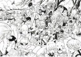 Персонажи ONEPUNCHMAN раскраска распечатать на А4 - Ванпанчмен
