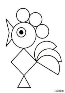 Петушок раскраска распечатать бесплатно на А4 - Геометрические фигуры