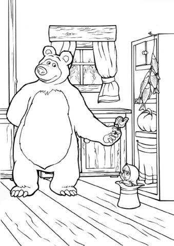 Петушок на палочке (Маша и Медведь) распечатать бесплатную раскраску