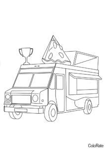 Раскраска Пицца-фургон распечатать и скачать - Грузовики