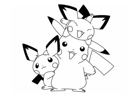 Раскраска Пикачу и покемоны распечатать на А4 - Покемоны